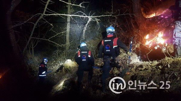 산림청,  대구광역시 앞산 야간 산불 진화 완료
