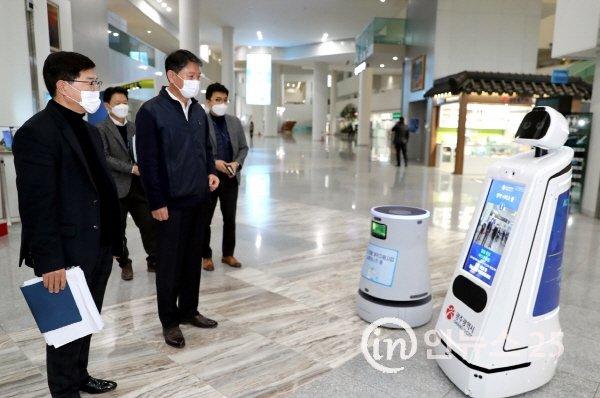 코로나19  광주시 청사 방역에 AI 로봇 활용